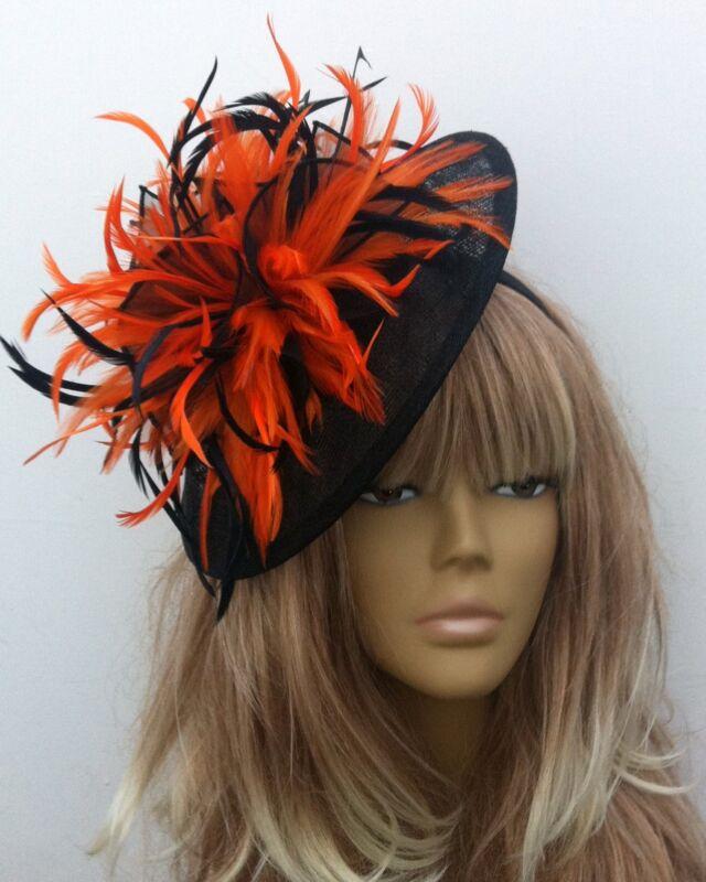 Bespoke Black Orange Hat Fascinator Mother Of The Bride