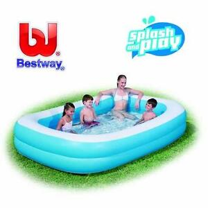 Bestway Inflatable 7 Ft Foot 2m Blue Rectangular Family Swimming Paddling Pool