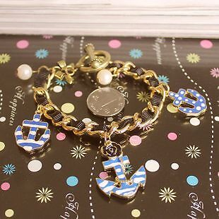 Betsey Johnson  Stylish blue and white anchor bracelet  ,#B019