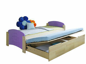 bett ausziehbar jugendbett kinderbett kiefer massiv jas 2 ebay. Black Bedroom Furniture Sets. Home Design Ideas