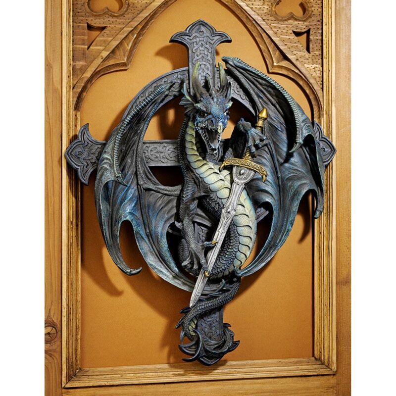 Beware of the Dragons Cross Medieval Wall Sculpture. Githic Home