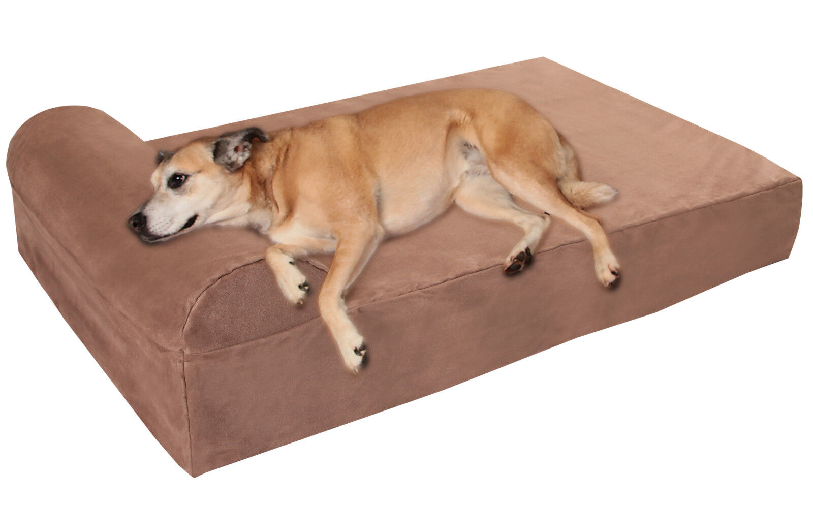 Large Big Barker Pillow-Top Orthopedic Dog Bed With Headr...