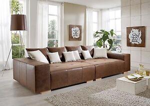 big sofa couch antik leder federkern italienisches rindsleder xxl mega sofa ebay. Black Bedroom Furniture Sets. Home Design Ideas