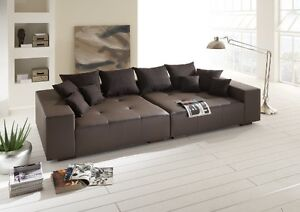 big sofa couch leder federkern italienisches echtleder xxl mega sofa ebay. Black Bedroom Furniture Sets. Home Design Ideas