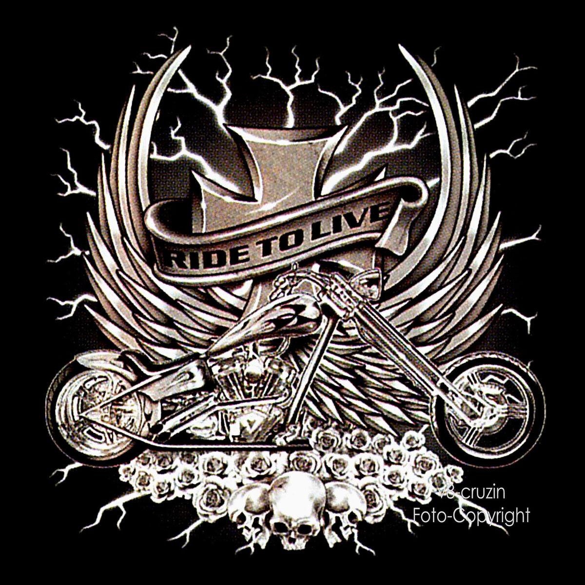 Biker Motiv Harley Chopper Skull T Shirt neu schwarz