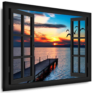 bild leinwand fenster n185 bilder m wen sonne meer kunstdrucke kein poster ebay. Black Bedroom Furniture Sets. Home Design Ideas