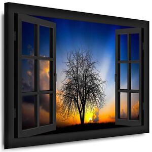 bild leinwand fensterblick n118 bilder baum sonnenuntergang kunstdrucke poster ebay. Black Bedroom Furniture Sets. Home Design Ideas