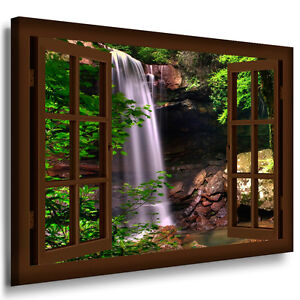 bild leinwand fensterblick n136 bilder wasserfall wald kunstdrucke kein poster ebay. Black Bedroom Furniture Sets. Home Design Ideas