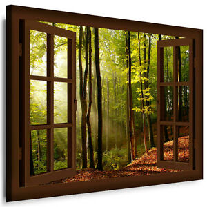 bild auf leinwand fenster n186 bilder sonne wald kunstdrucke kein poster ebay. Black Bedroom Furniture Sets. Home Design Ideas