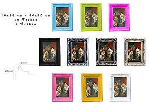 Bilderrahmen-Fotorahmen-Kunststoff-Barock-10x15-30x40-Glas-7-Farben-5-Groessen