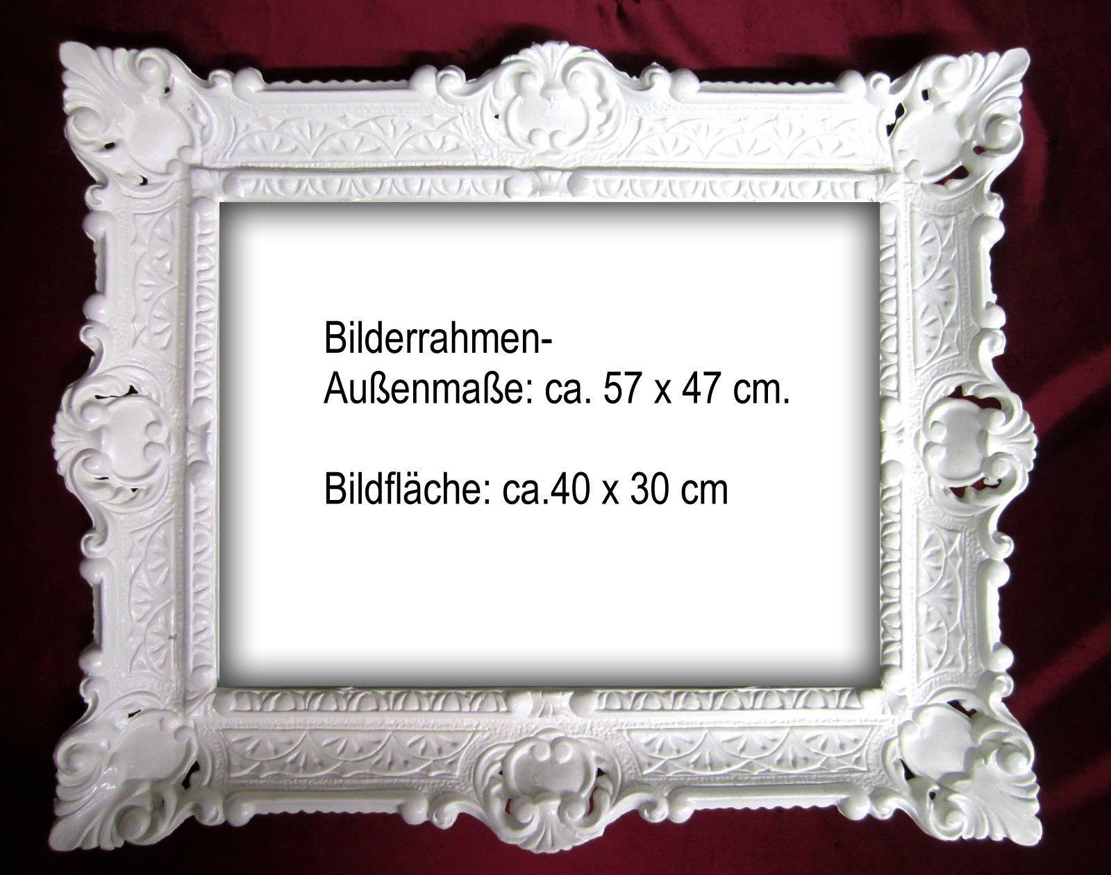 picture frame white baroque 56x46 photo antique rectangular 30x40 ebay. Black Bedroom Furniture Sets. Home Design Ideas