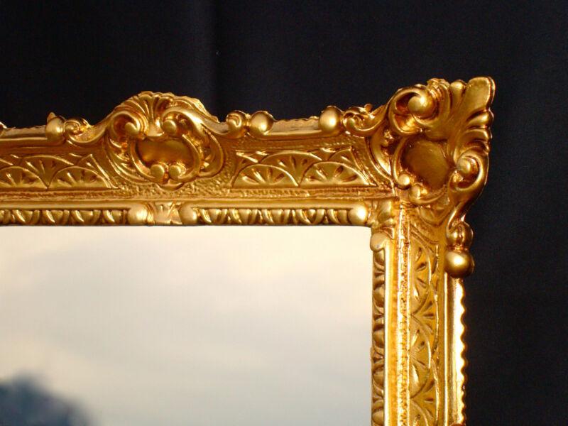 spiegel antik wandspiegel gold jugendstil badspiegel shabby 56x46 barock ebay. Black Bedroom Furniture Sets. Home Design Ideas