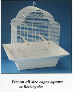 "Bird Toys Cage Skirt Seed Catcher No Mess Cage Guard Fits Up To-24"" X 24"" WHITE in Pet Supplies, Bird Supplies, Cages 