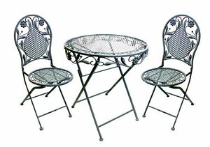 bistro set balkon set eisen gartenm bel set antik look klappbar ebay. Black Bedroom Furniture Sets. Home Design Ideas