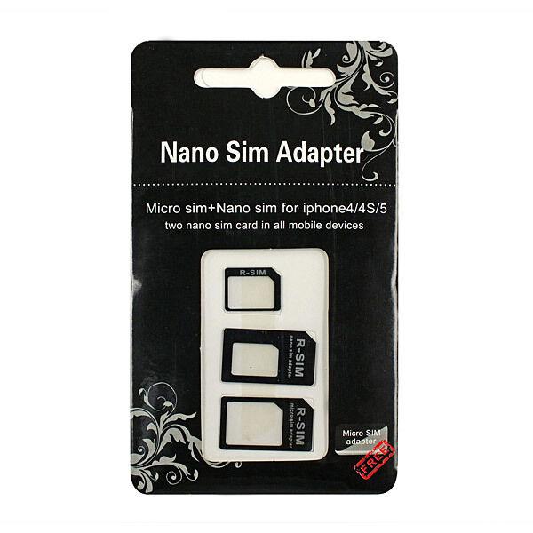 Black 3Adapters Nano SIM Card&Micro SIM &Standard SIM Card Adapters for iPhone 5