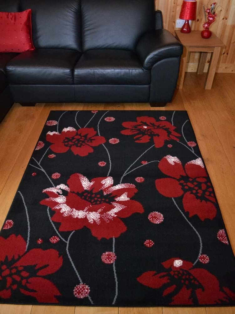 Black and red poppy small extra large soft floor area rugs for Large red area rugs