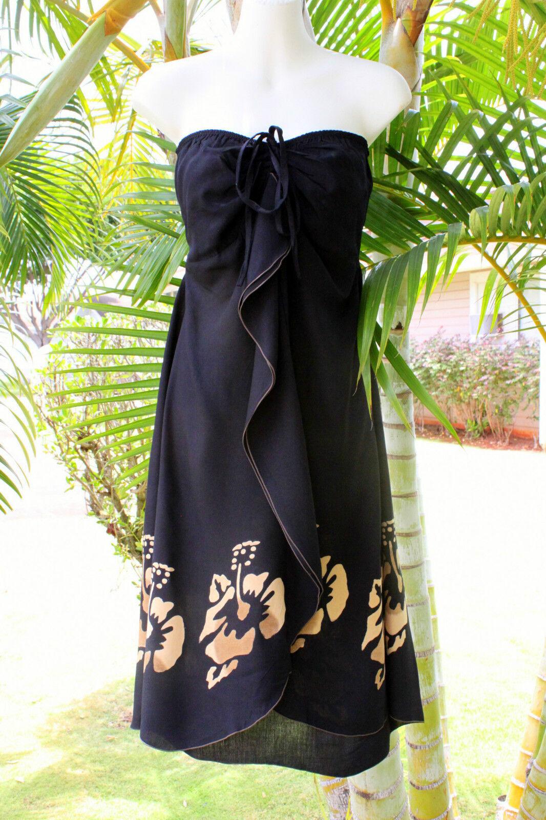 Black Brown Hibiscus Hawaiian Strapless Vertical Ruffle
