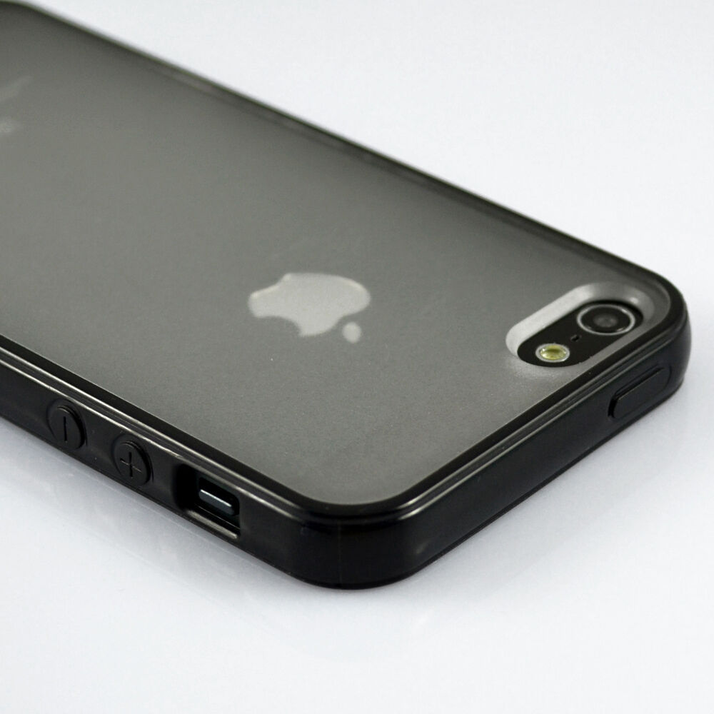 Black Bumper With Matte Clear Back Case Cover for iPhone 5 5G 5S