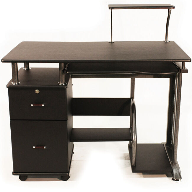 Black Computer Desk Home Office Furniture Wood Storage Cabinet
