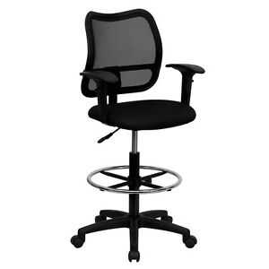 Ergonomic Chairs on Black Ergonomic Mesh Drafting Office Stool Chair And Arms   Ebay