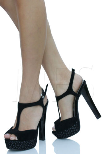 Black Faux Suede T Strap Ankle Strap Platform Heels myall in Clothing, Shoes & Accessories, Women's Shoes, Heels   eBay