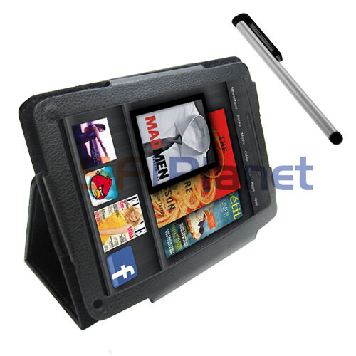Black Folio Leather Case Cover+Touch Screen Stylus Pen For