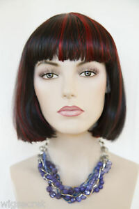 Black Highlight Red Red Short Straight Fun Color Costume Wigs   eBay
