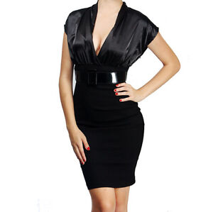 Black Pencil Dress on Black Hot Fitted Career Cocktail Pencil Satin Dress S Size   Ebay