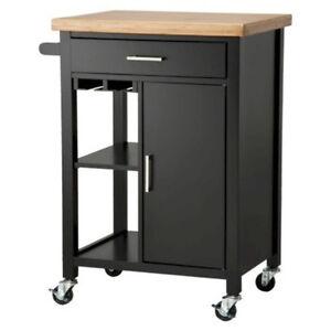 Black Kitchen Microwave Storage Rolling Cart On Wheels W Shelves Cabinet EBay