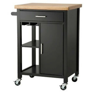 Black Kitchen Microwave Storage Rolling Cart On Wheels W