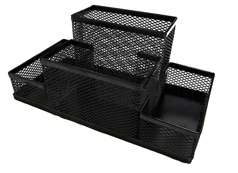 Black mesh desk organizers 4 compartments 8x4x4 metal - Black mesh desk organizer ...