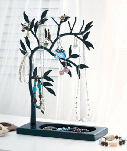 Black Metal Wood Jewelry Tree Stand with Tray Earring Bracelet Necklace Holder in Jewelry & Watches, Jewelry Boxes & Organizers, Jewelry Holders & Organizers | eBay