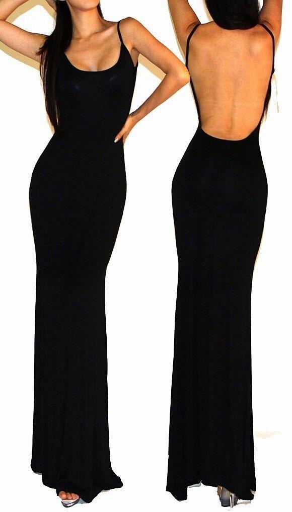 Black Minimalist Backless Open Back Slip Jersey Long Maxi Cocktail Dress S M L