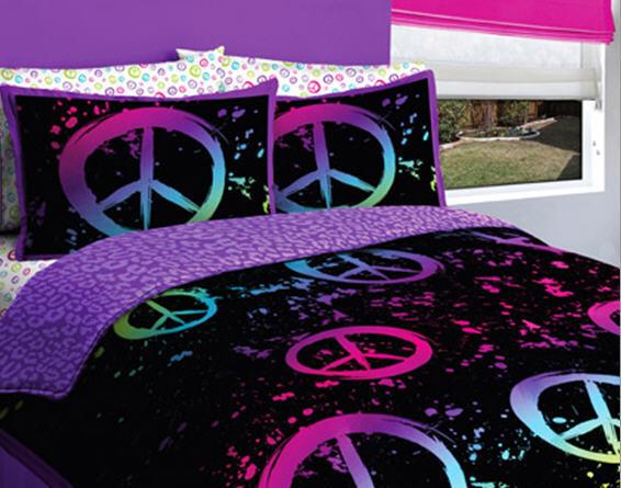 CREATIVE KIDS Black, Purple & Pink Peace Signs Teen Girls ...
