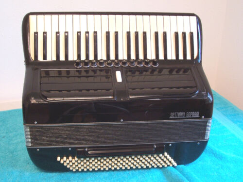 Black Settimio Soprani Accordion 120 bass 11/4 reg Italy accordian needs repairs in Musical Instruments & Gear, Accordion & Concertina | eBay