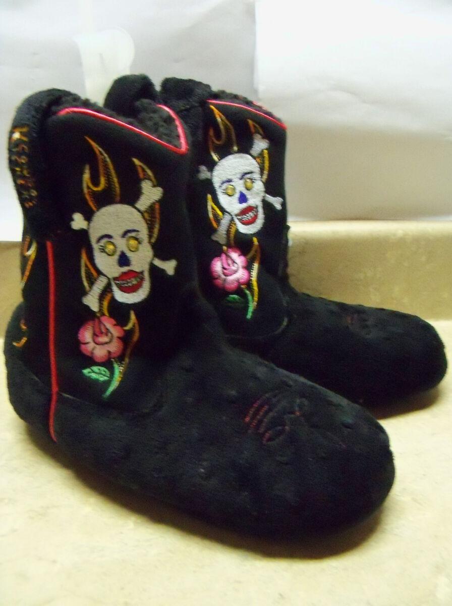Black Skulls Flame Western Cowboy Boots House Slippers Womens Ladies