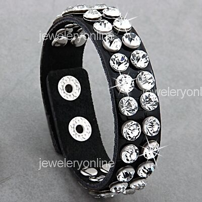 Black Studs Rhinestone Leather Wristband Bracelet 0 7