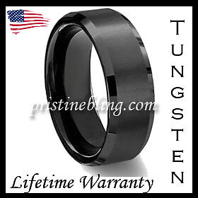 Black Tungsten Carbide Wedding Band Ring Mens Jewelry Brush Center Diamond Gold in Jewelry & Watches, Men's Jewelry, Rings | eBay