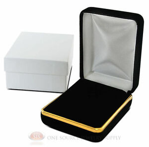 Black Velvet Pendant Necklace Earrings Jewelry Gift Box 2