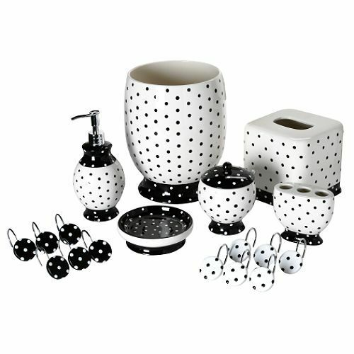 Black white polka dot bathroom accessory tissue box for Black and white bathroom sets