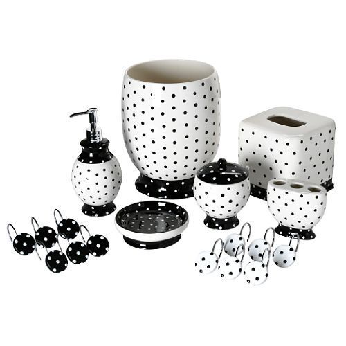 Black White Polka Dot Bathroom Accessory Tissue Box Wastebasket Towel