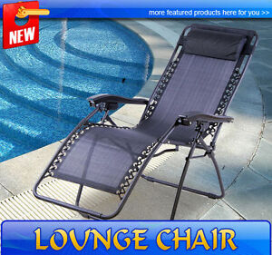 Lounge Chairs on Gravity Chair Folding Recliner Patio Pool Lounge Chairs Outdoor   Ebay