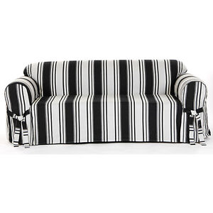 Black And White Stripe All 100 Cotton Sofa And Loveseat Cover Slipcover Ebay