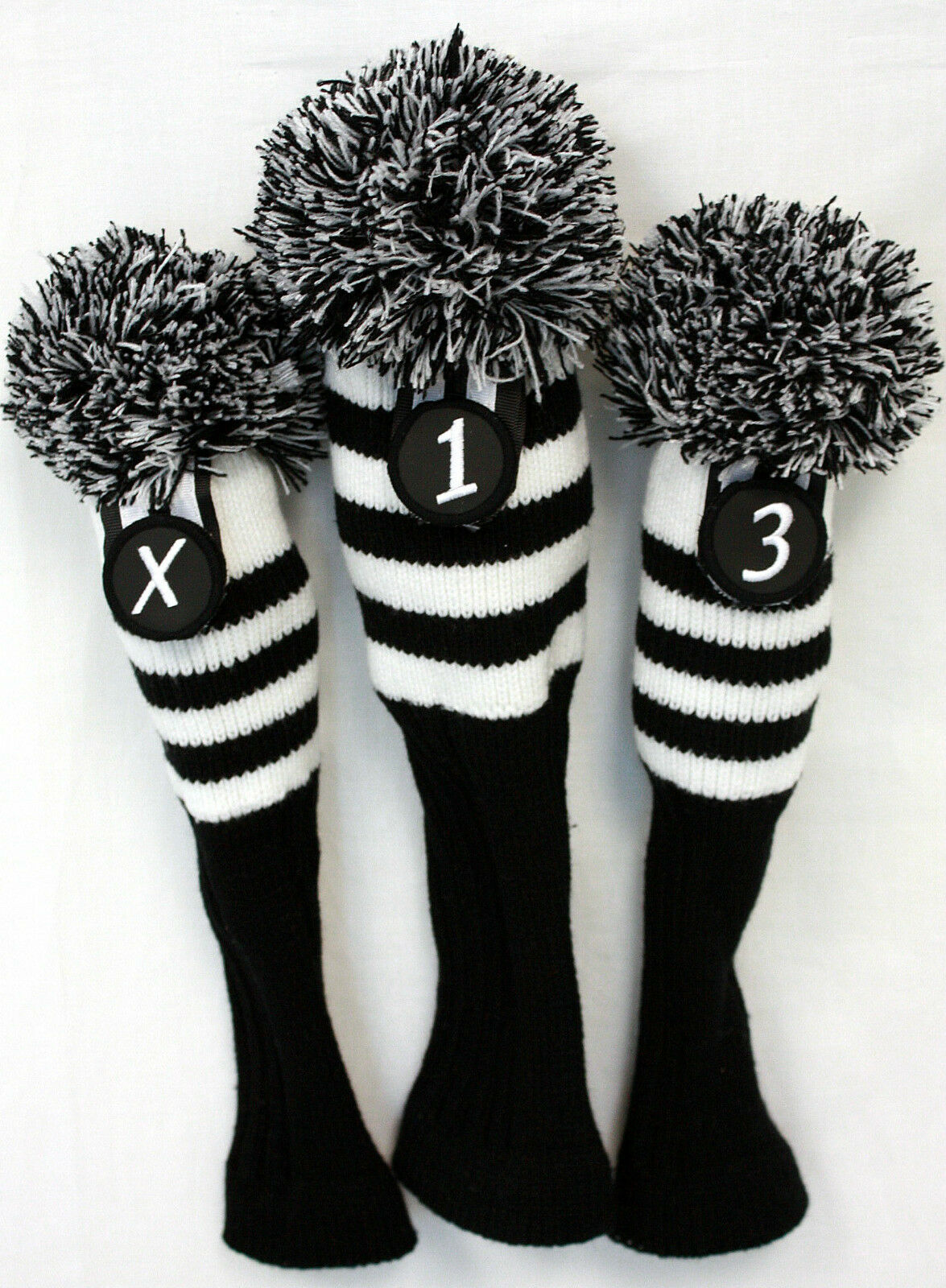 Black & White Stripe Sock Retro Headcover 3 pc Set Golf Club Head ...