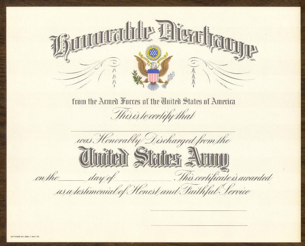 Blank Us Army Honorable Discharge Certificate 1950