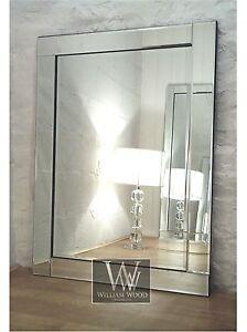 Blenheim silver glass framed rectangle bevelled wall for Mirror 40 x 60