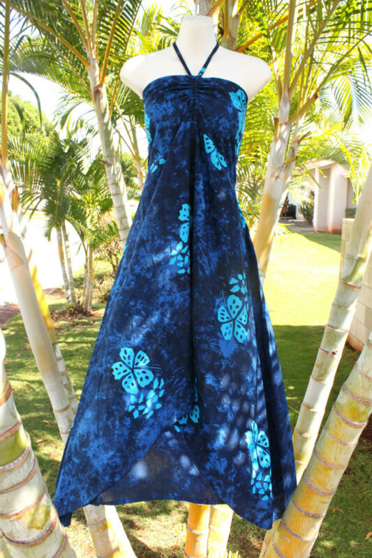 Blue Floral Tropical Hawaiian Hawaii Muu Muu Butterfly Hem