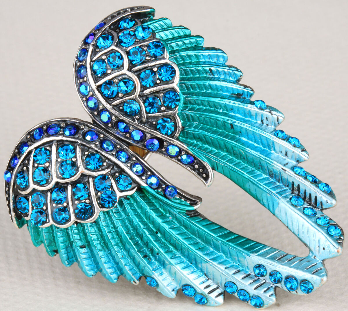 Blue Crystal Angel Wing Pin Brooch Pendant BD03 Matching Ring Earring