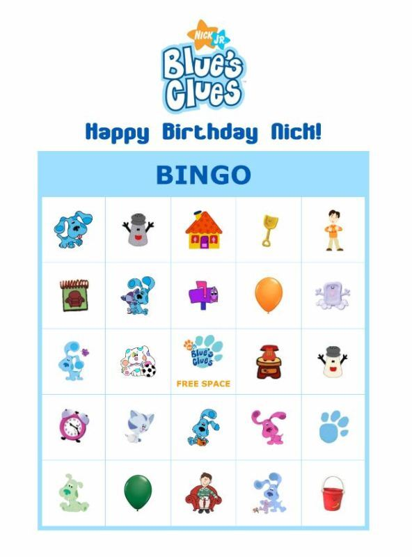 Blue's Clues Birthday Party Game Bingo Cards