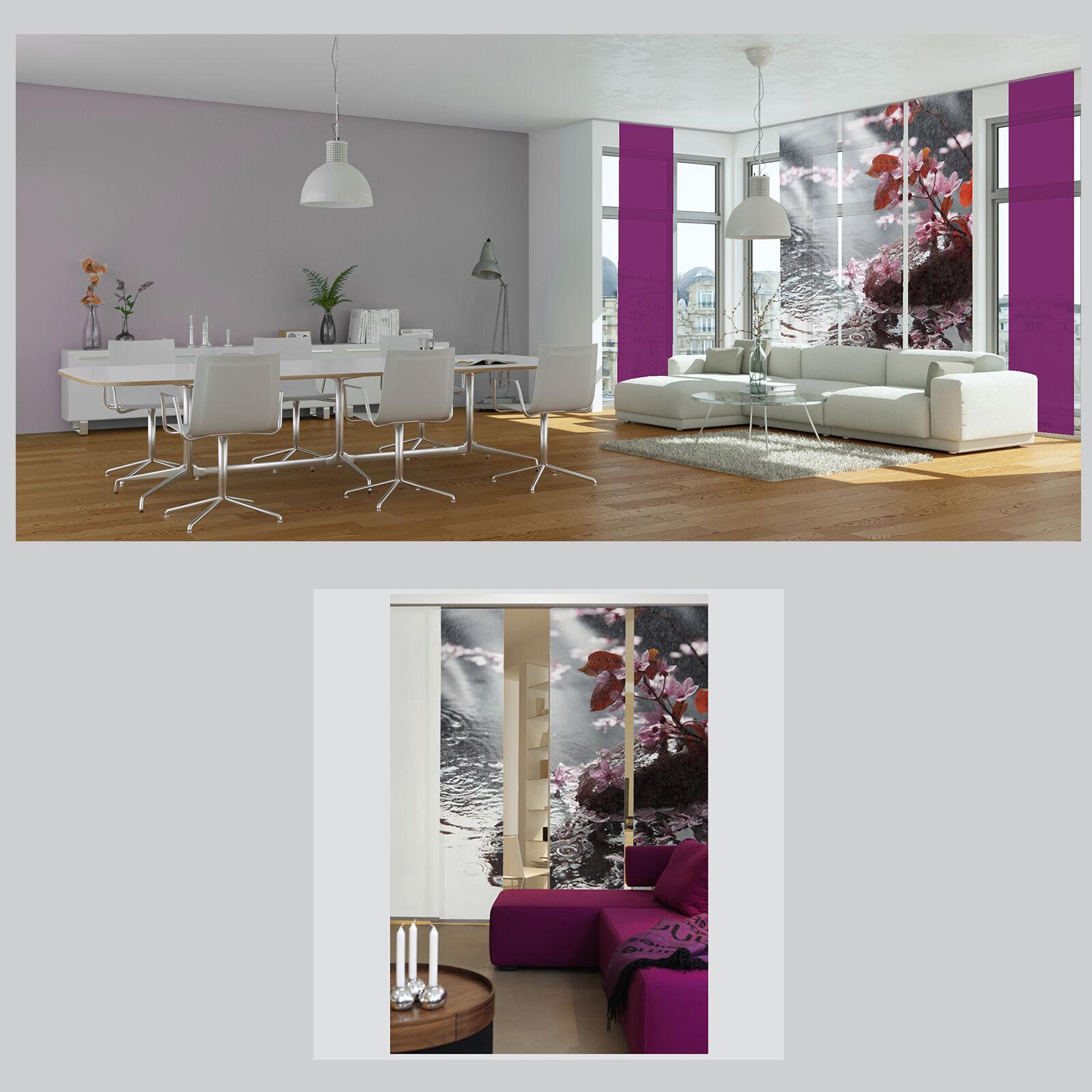 Bl tenregen wasser blume schiebevorhang raumteiler for Bildmotive wohnzimmer